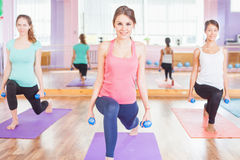 Beautiful Happy Woman Doing Fitness Exercise With Weight In Hands Stock Photo