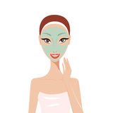 Beautiful happy woman with face mask Spa Skin care concept. Vector illustration Stock Images