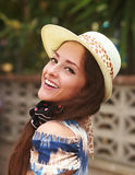 Beautiful happy woman in fashion hat Stock Photography