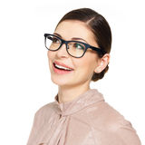 Beautiful happy woman in glasses looking up Royalty Free Stock Images