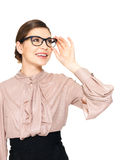 Beautiful happy woman in glasses looking up Stock Images