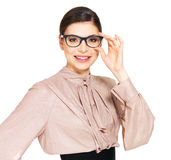 Beautiful happy woman in glasses and  shirt with black skirt Stock Image