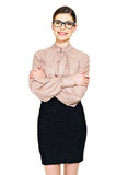 Beautiful happy woman in glasses and  shirt with black skirt Stock Photo