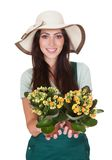 Beautiful Happy Woman Holding Flower Plant Stock Photo
