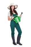 Beautiful Happy Woman Holding Watering Can Stock Photos