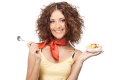Beautiful happy woman with a jelly cake Royalty Free Stock Photography