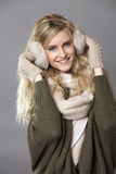beautiful happy woman in a knitted jacket Stock Photography