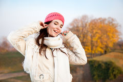 Beautiful Happy Woman Listening To Music Stock Photo