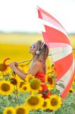 Beautiful happy woman listening to music outdoor Stock Photos