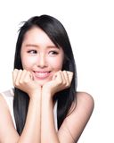 Beautiful happy woman look copyspace. Beautiful smile happy woman eye look to empty copy space isolated on white background. asian model Stock Photo