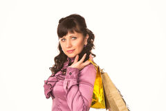 Beautiful happy woman with many shopping bags. Shopping concept. Royalty Free Stock Images