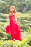 Beautiful happy woman on natural tropical background Royalty Free Stock Photos