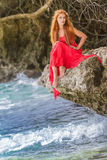 Beautiful happy woman on natural tropical background Royalty Free Stock Images