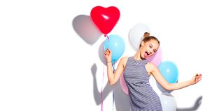 Free Beautiful Happy Woman On Birthday Party, Love, Valentine`s Day Party. Joyful Model Having Fun, Celebrating With Balloons Stock Photography - 164588352