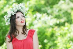 Beautiful Happy Woman On Natural Background Stock Photo