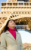 Beautiful happy woman in Paris Royalty Free Stock Photo