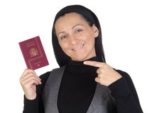 Beautiful and happy woman with a passport Stock Photo