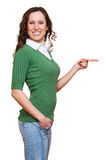 Beautiful happy woman pointing Stock Images