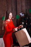 Beautiful happy woman with present #2 Royalty Free Stock Image