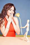 Beautiful happy woman received tulip flower from abstract boyfriend Stock Images