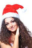 Beautiful happy woman in Santa Claus Stock Images