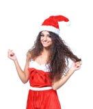 Beautiful happy woman in Santa Claus Stock Photos