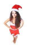 Beautiful happy woman in Santa Claus Stock Photo