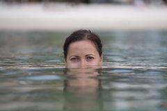 Beautiful happy woman in sea water Stock Photo