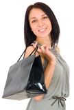 Beautiful happy woman with shopping bag Stock Photo