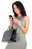Beautiful happy woman with shopping bag Royalty Free Stock Image