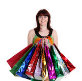 Beautiful happy woman with shopping bags Stock Photography
