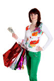 Beautiful happy woman with shopping bags Stock Photos