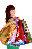 Beautiful happy woman with shopping bags Royalty Free Stock Images