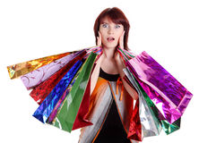 Beautiful happy woman with shopping bags Royalty Free Stock Image