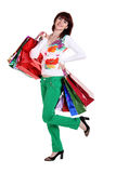 Beautiful happy woman with shopping bags isolated Royalty Free Stock Images