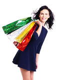 Beautiful happy woman with shopping bags. Stock Images