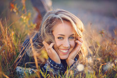 Beautiful happy woman smiles Royalty Free Stock Images