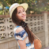 Beautiful happy woman in summer hat looking Royalty Free Stock Images