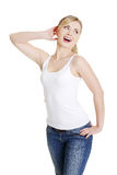 Beautiful happy woman with tothy smile Stock Photos