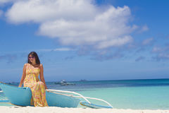 Beautiful happy woman on tropical beach and sea background Stock Images