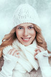 Beautiful happy woman in warm winter clothing Royalty Free Stock Images