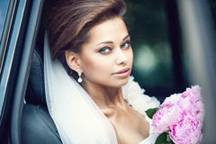 Beautiful happy young bride Royalty Free Stock Image
