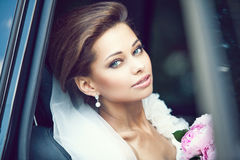 Beautiful happy young bride Stock Photography