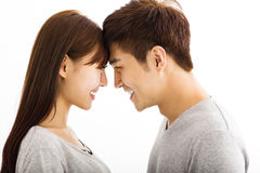 Beautiful happy young couple stock images