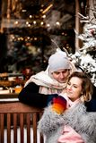 Beautiful happy young couple in love in winter day, tenderness lifestyle moment stock photo