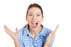 A beautiful happy young excited woman Stock Photography