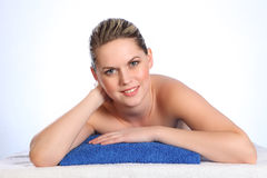 Beautiful happy young nude woman health spa Royalty Free Stock Images