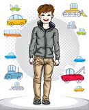 Beautiful happy young teenager boy posing in stylish casual clot Stock Photos