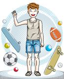 Beautiful happy young teenager boy posing in stylish casual clot. Hes. Vector human illustration. Childhood lifestyle cartoon Royalty Free Stock Photos
