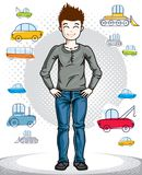 Beautiful happy young teenager boy posing in stylish casual clot. Hes. Vector attractive kid illustration. Fashion theme clipart Royalty Free Stock Photography